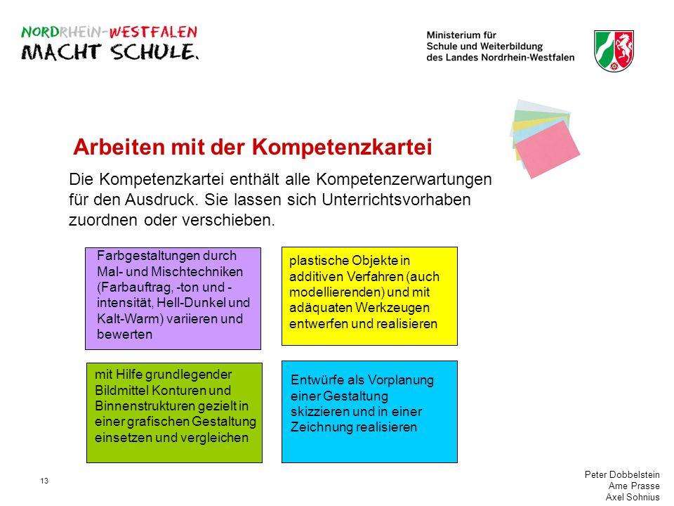 Peter Dobbelstein Arne Prasse Axel Sohnius 13 Arbeiten mit der Kompetenzkartei Die Kompetenzkartei enthält alle Kompetenzerwartungen für den Ausdruck.