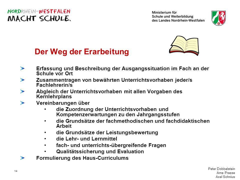 Peter Dobbelstein Arne Prasse Axel Sohnius 14 Der Weg der Erarbeitung Erfassung und Beschreibung der Ausgangssituation im Fach an der Schule vor Ort Z
