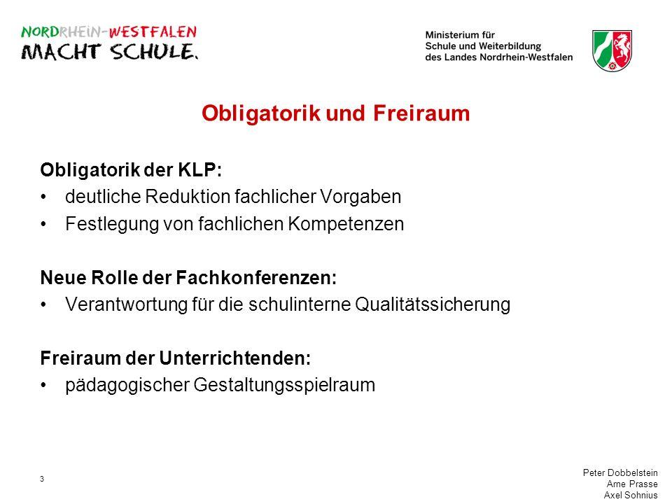 Peter Dobbelstein Arne Prasse Axel Sohnius 3 Obligatorik und Freiraum Obligatorik der KLP: deutliche Reduktion fachlicher Vorgaben Festlegung von fach