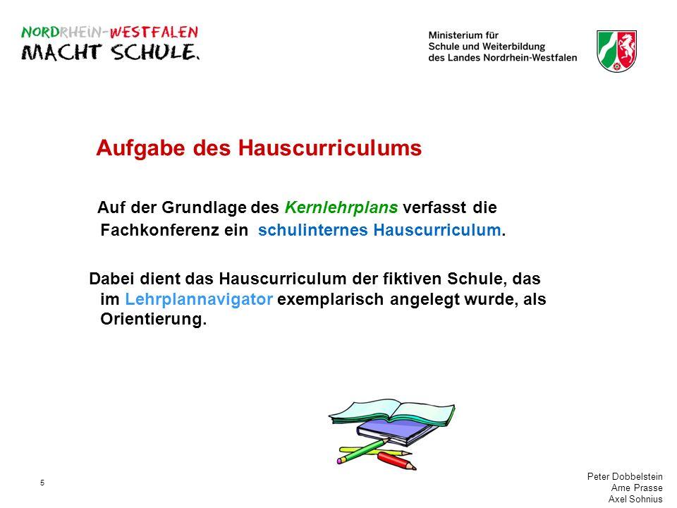 Peter Dobbelstein Arne Prasse Axel Sohnius 5 Aufgabe des Hauscurriculums Auf der Grundlage des Kernlehrplans verfasst die Fachkonferenz ein schulinter