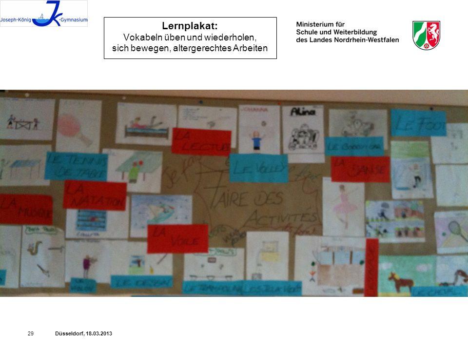 Düsseldorf, 18.03.201329 Lernplakat: Vokabeln üben und wiederholen, sich bewegen, altergerechtes Arbeiten