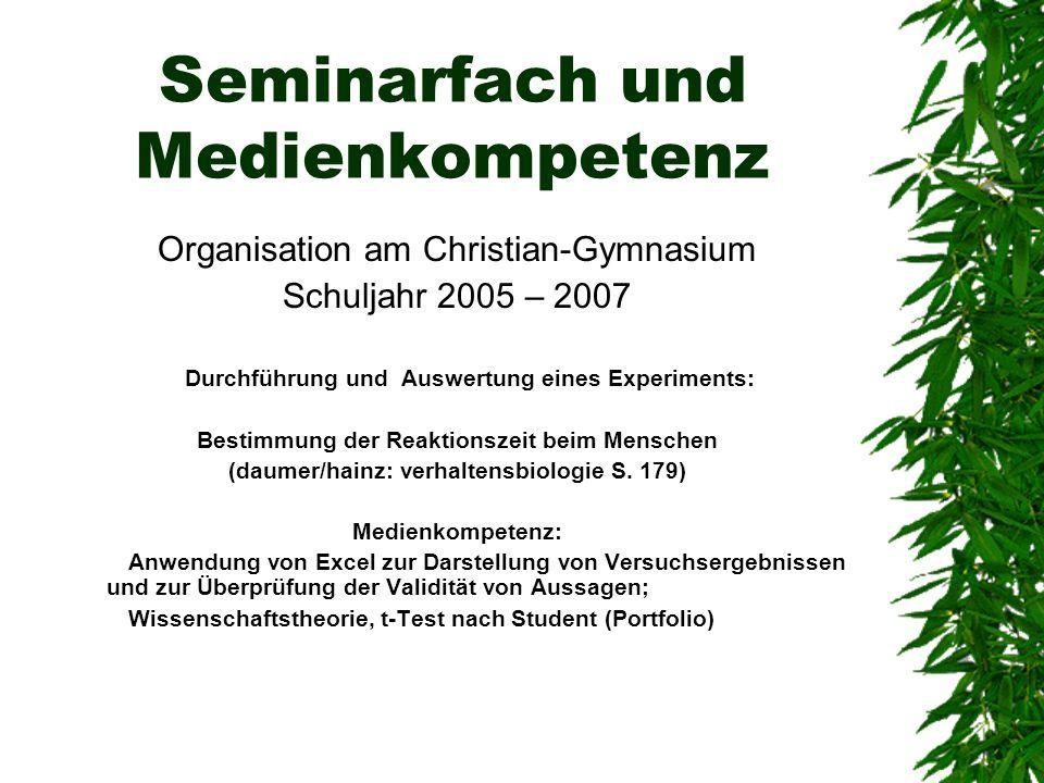 Seminarfach und Medienkompetenz Organisation am Christian-Gymnasium Schuljahr 2005 – 2007 Durchführung und Auswertung eines Experiments: Bestimmung de