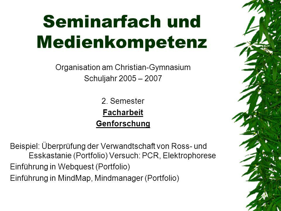 Seminarfach und Medienkompetenz Organisation am Christian-Gymnasium Schuljahr 2005 – 2007 2. Semester Facharbeit Genforschung Beispiel: Überprüfung de