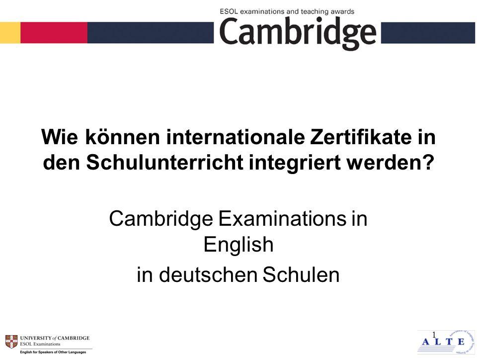 12 Cambridge ESOL Website Informationen über die Examina Handbücher Teaching Resource Site Bestellformulare www.CambridgeESOL.org Anerkennung; Schulprojekte; Seminare www.cambridge-exams.de