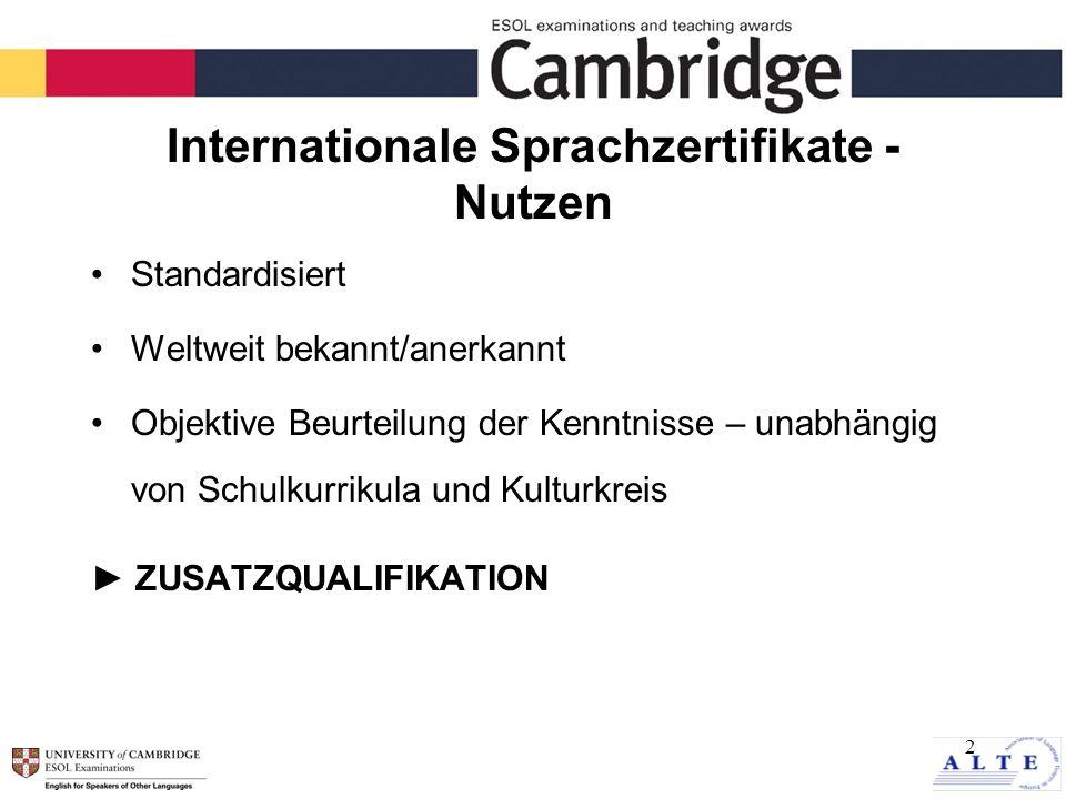2 Internationale Sprachzertifikate - Nutzen Standardisiert Weltweit bekannt/anerkannt Objektive Beurteilung der Kenntnisse – unabhängig von Schulkurrikula und Kulturkreis ZUSATZQUALIFIKATION