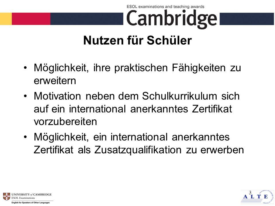 3 Nutzen für Schüler Möglichkeit, ihre praktischen Fähigkeiten zu erweitern Motivation neben dem Schulkurrikulum sich auf ein international anerkanntes Zertifikat vorzubereiten Möglichkeit, ein international anerkanntes Zertifikat als Zusatzqualifikation zu erwerben