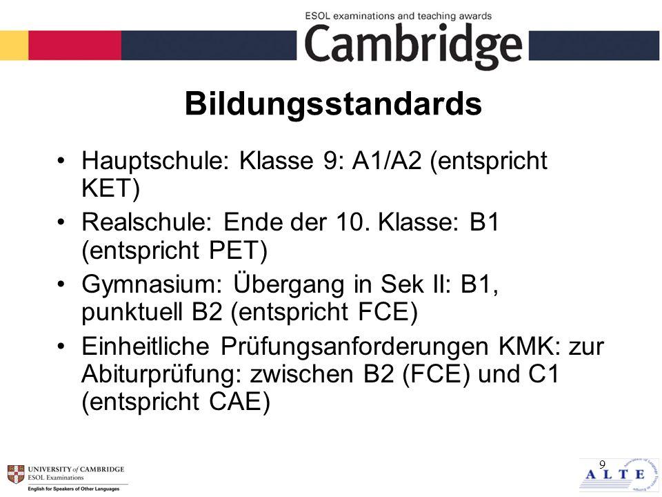9 Bildungsstandards Hauptschule: Klasse 9: A1/A2 (entspricht KET) Realschule: Ende der 10.