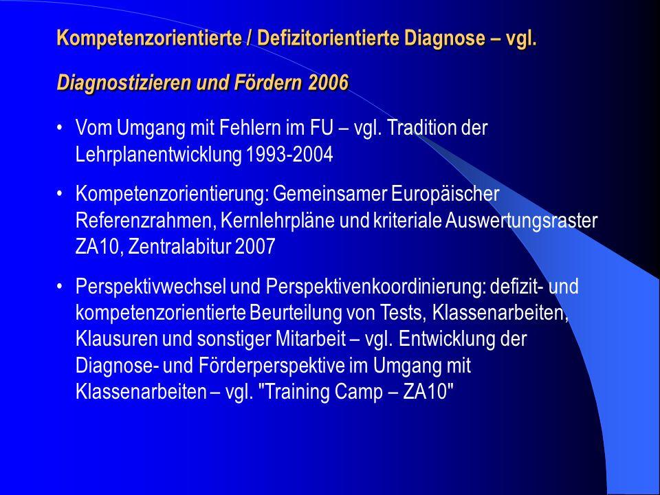 Kompetenzorientierte / Defizitorientierte Diagnose – vgl. Diagnostizieren und Fördern 2006 Vom Umgang mit Fehlern im FU – vgl. Tradition der Lehrplane