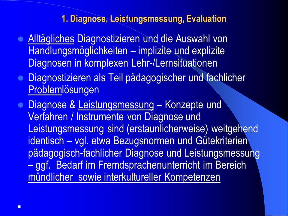 Diagnose, Leistungsmessung und Evaluation - Schnittmengen: Konzepte, Verfahren / Instrumente – ein Rückblick auf Modul II PPP- Vier Säulen – Arbeitshypothese: Diagnose ist der übergeordnete Begriff; er bezeichnet die professionelle Tätigkeit, in (komplexen) Lehr-/Lernsituationen auf der Grundlage von impliziten oder expliziten diagnostischen Urteilen Entscheidungen über Handlungsalternativen zu ermöglichen.