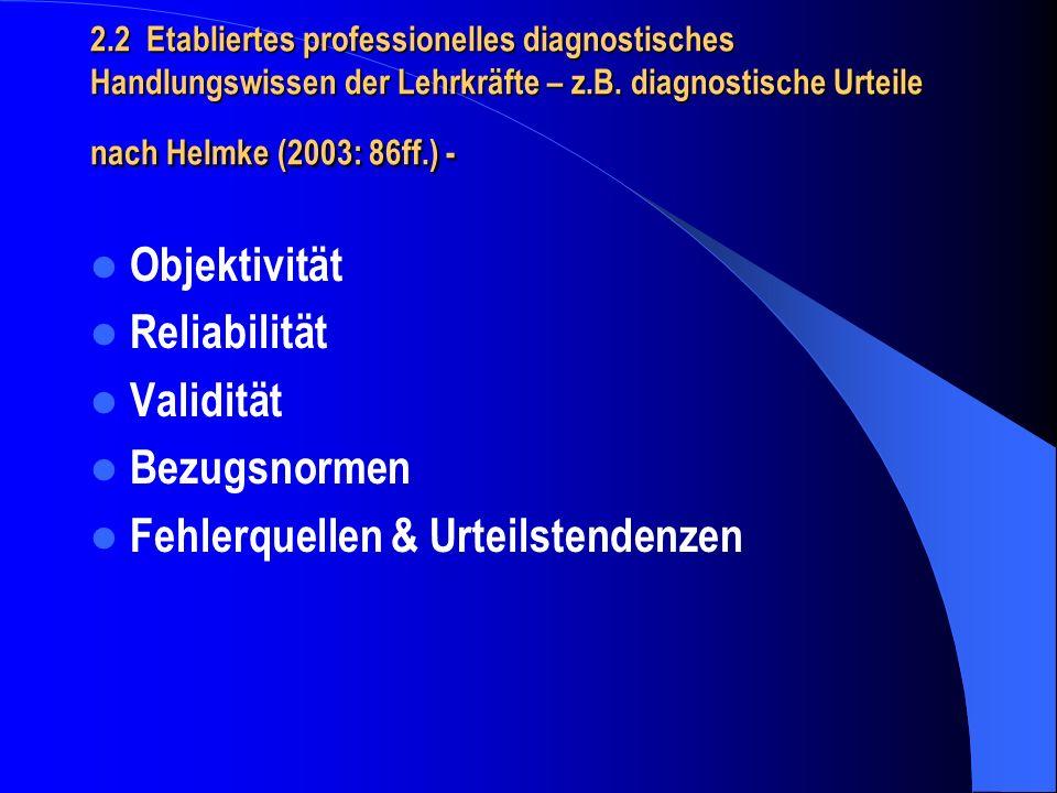2.2 Etabliertes professionelles diagnostisches Handlungswissen der Lehrkräfte – z.B. diagnostische Urteile nach Helmke (2003: 86ff.) - Objektivität Re