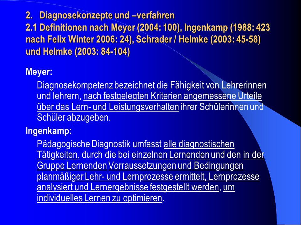 Schrader / Helmke & Helmke: aufgabenbezogene Diagnose – siehe unten Weinert 2004 personenbezogene Diagnose – siehe unten Weinert 2004 implizit / Mikrodiagnosen – Handlungsentwürfe & - routinen, Erwartungen & Hypothesen explizit / diagnostisches Wissen & diagnostische Verfahren Anlässe für diagnostische Urteile Passung von Aufgabenstellungen & Schülerleistung - adaptiver Unterricht – diagnostische Informationen (Schwierigkeitsanalyse – vgl.