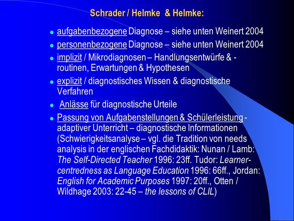 Schrader / Helmke & Helmke: aufgabenbezogene Diagnose – siehe unten Weinert 2004 personenbezogene Diagnose – siehe unten Weinert 2004 implizit / Mikro