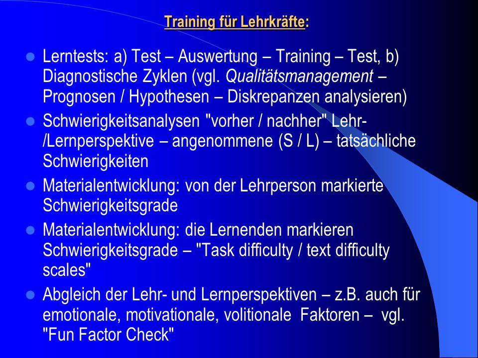 Training für Lehrkräfte: Lerntests: a) Test – Auswertung – Training – Test, b) Diagnostische Zyklen (vgl. Qualitätsmanagement – Prognosen / Hypothesen