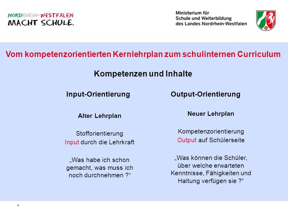 4 Vom kompetenzorientierten Kernlehrplan zum schulinternen Curriculum Kompetenzen und Inhalte Input-OrientierungOutput-Orientierung Alter Lehrplan Sto