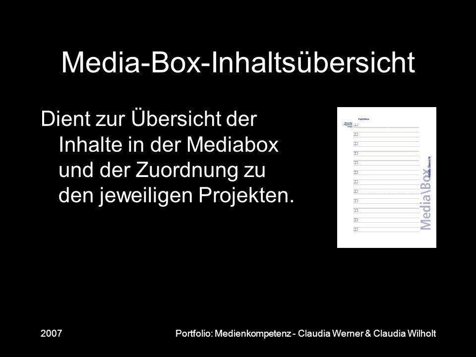 2007Portfolio: Medienkompetenz - Claudia Werner & Claudia Wilholt Media-Box-Inhaltsübersicht Dient zur Übersicht der Inhalte in der Mediabox und der Z