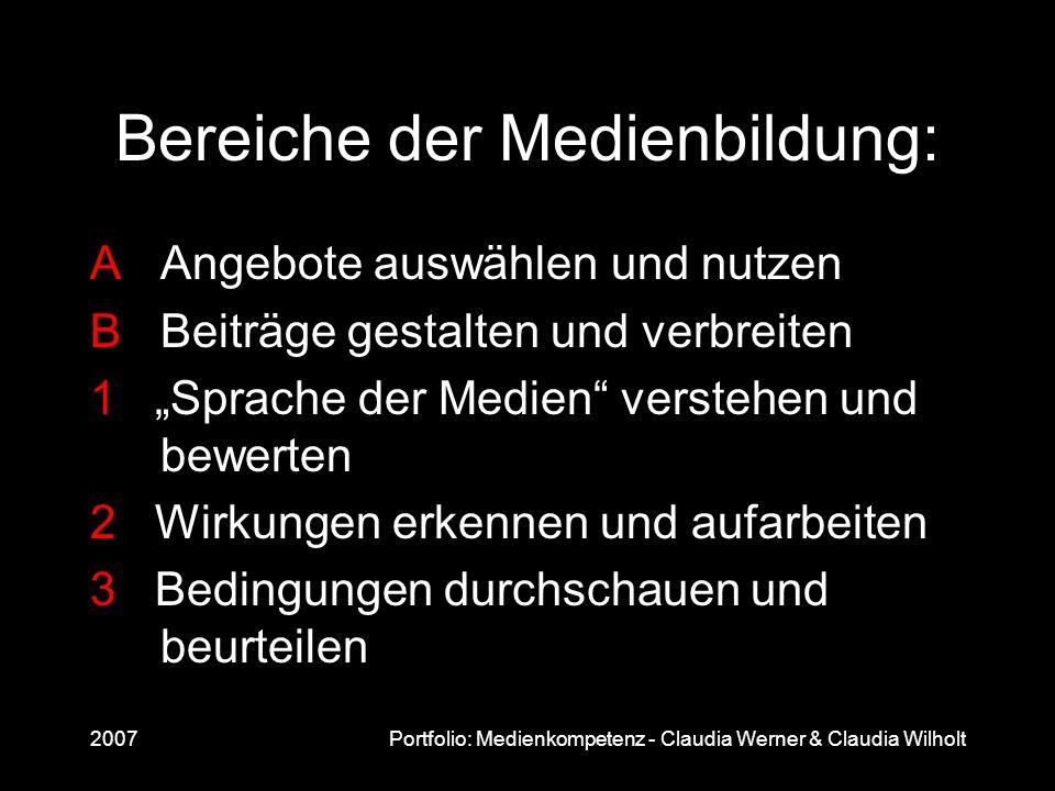 2007Portfolio: Medienkompetenz - Claudia Werner & Claudia Wilholt Bereiche der Medienbildung: AAngebote auswählen und nutzen BBeiträge gestalten und v