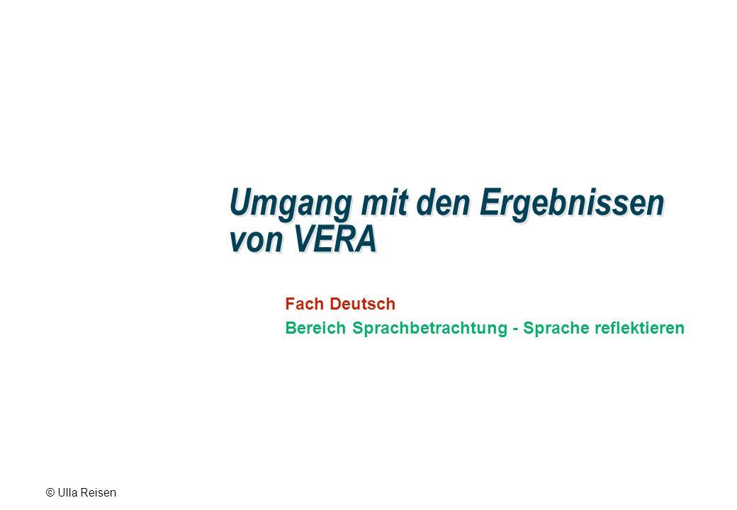 © Ulla Reisen Umgang mit den Ergebnissen von VERA Fach Deutsch Bereich Sprachbetrachtung - Sprache reflektieren