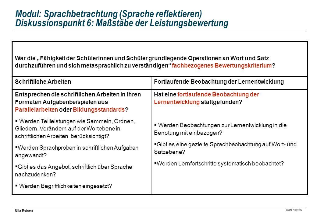 Stand 18.01.05 Ulla Reisen Modul: Sprachbetrachtung (Sprache reflektieren) Diskussionspunkt 6: Maßstäbe der Leistungsbewertung War die Fähigkeit der S