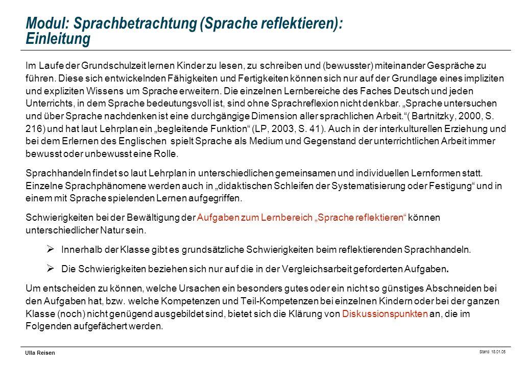 Stand 18.01.05 Ulla Reisen Modul: Sprachbetrachtung (Sprache reflektieren): Einleitung Im Laufe der Grundschulzeit lernen Kinder zu lesen, zu schreibe