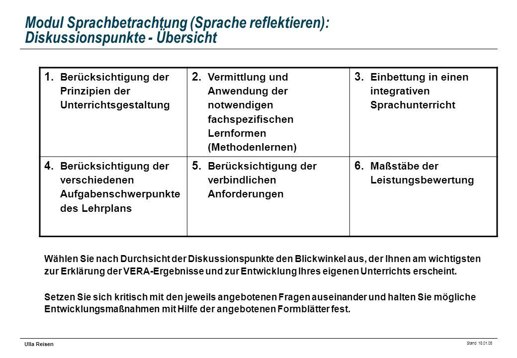 Stand 18.01.05 Ulla Reisen Modul Sprachbetrachtung (Sprache reflektieren): Diskussionspunkte - Übersicht 1. Berücksichtigung der Prinzipien der Unterr