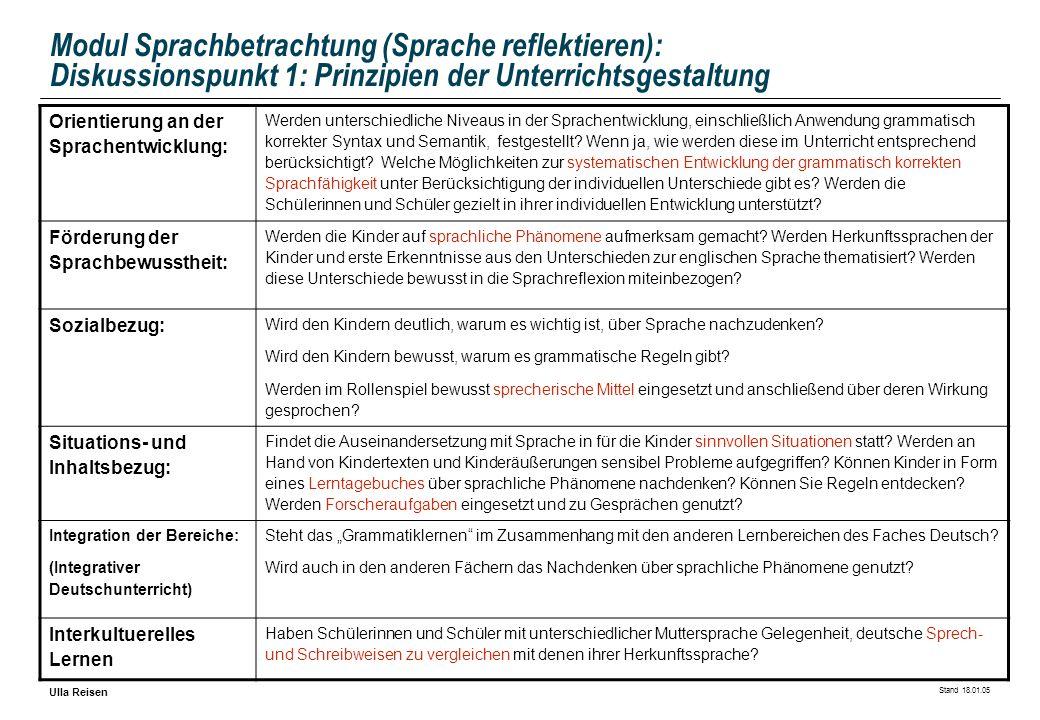 Stand 18.01.05 Ulla Reisen Modul Sprachbetrachtung (Sprache reflektieren): Diskussionspunkt 1: Prinzipien der Unterrichtsgestaltung Orientierung an de