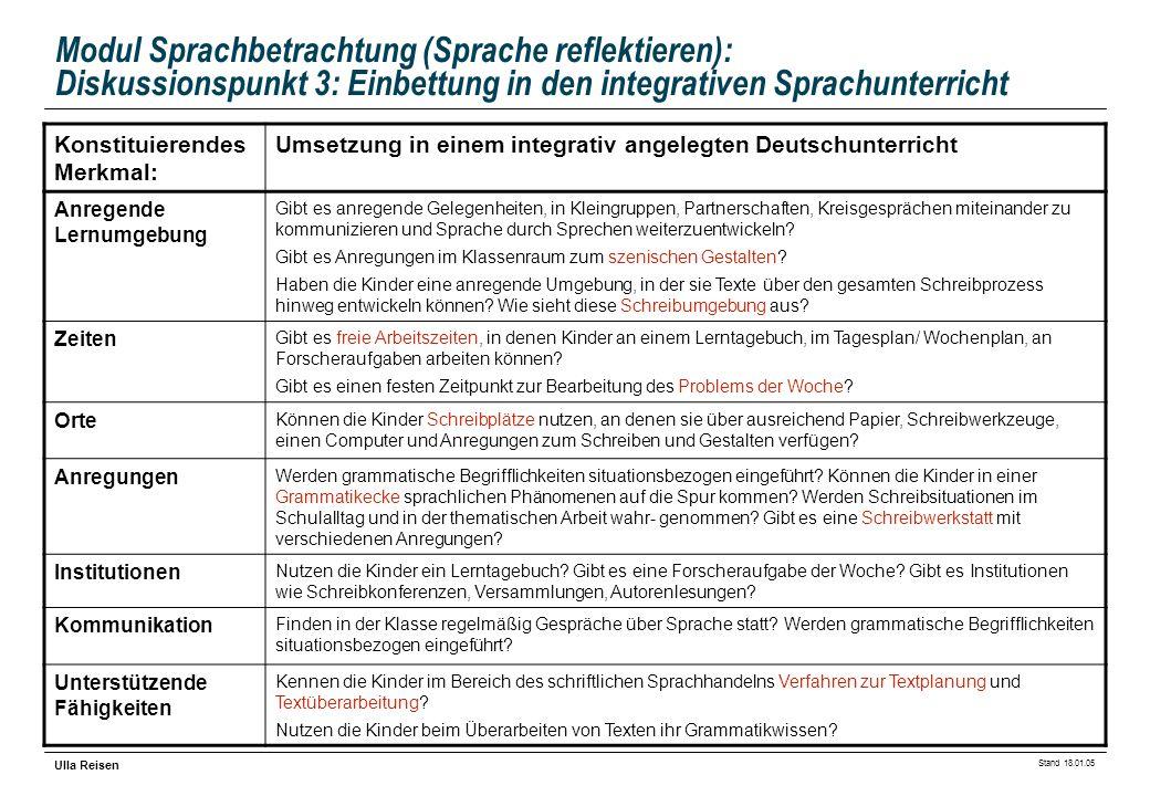 Stand 18.01.05 Ulla Reisen Modul Sprachbetrachtung (Sprache reflektieren): Diskussionspunkt 3: Einbettung in den integrativen Sprachunterricht Konstit