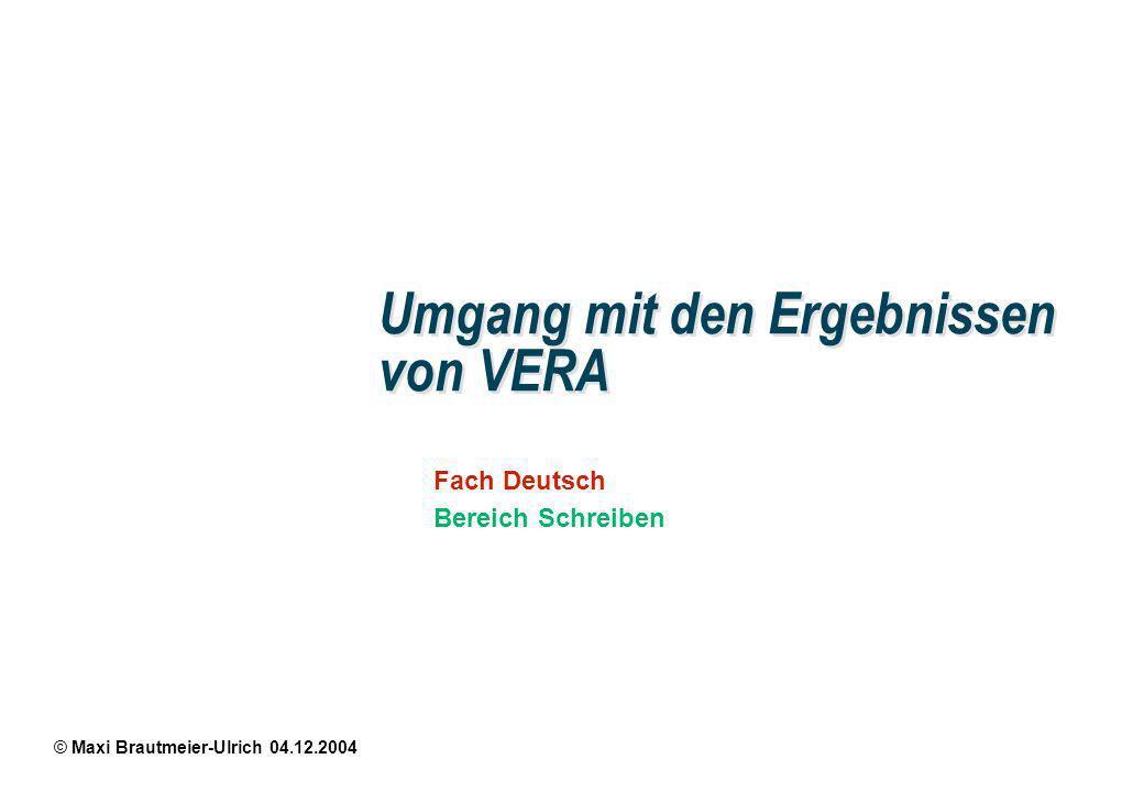 © Maxi Brautmeier-Ulrich 04.12.2004 Fach Deutsch Bereich Schreiben Umgang mit den Ergebnissen von VERA