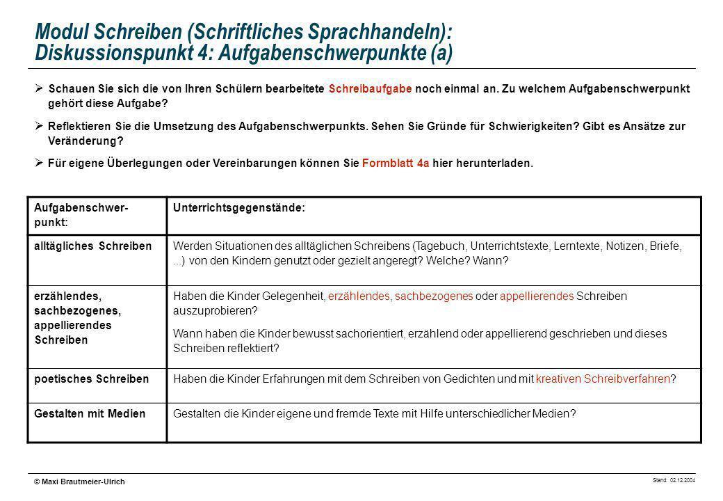 Stand: 02.12.2004 © Maxi Brautmeier-Ulrich Modul Schreiben (Schriftliches Sprachhandeln): Diskussionspunkt 4: Aufgabenschwerpunkte (a) Schauen Sie sic