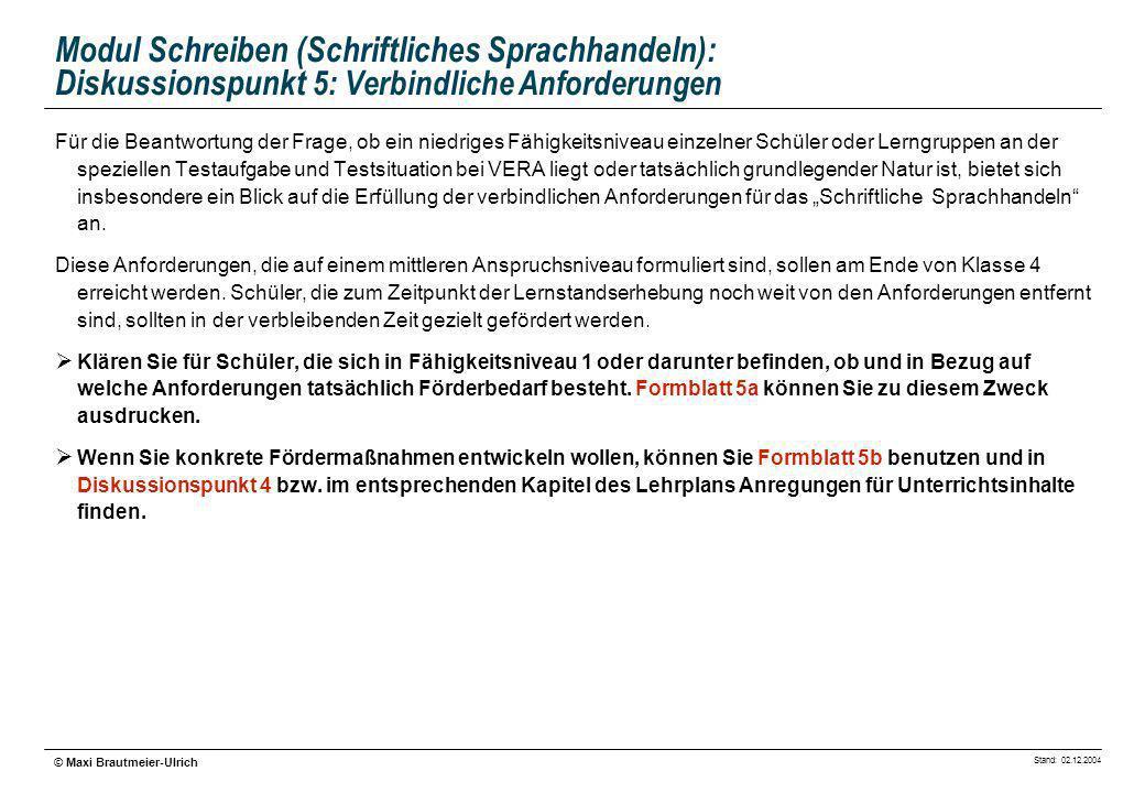 Stand: 02.12.2004 © Maxi Brautmeier-Ulrich Modul Schreiben (Schriftliches Sprachhandeln): Diskussionspunkt 5: Verbindliche Anforderungen Für die Beant