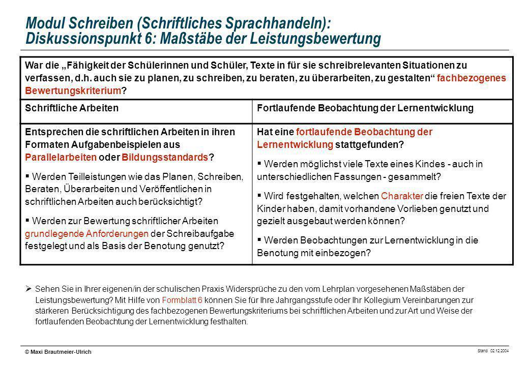 Stand: 02.12.2004 © Maxi Brautmeier-Ulrich Modul Schreiben (Schriftliches Sprachhandeln): Diskussionspunkt 6: Maßstäbe der Leistungsbewertung War die