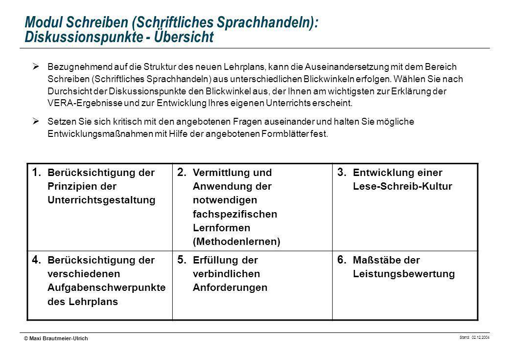 Stand: 02.12.2004 © Maxi Brautmeier-Ulrich Modul Schreiben (Schriftliches Sprachhandeln): Diskussionspunkte - Übersicht Bezugnehmend auf die Struktur