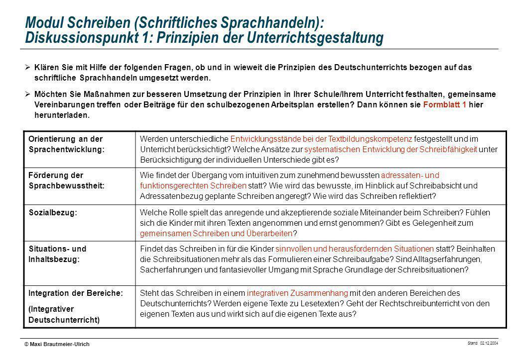 Stand: 02.12.2004 © Maxi Brautmeier-Ulrich Modul Schreiben (Schriftliches Sprachhandeln): Diskussionspunkt 1: Prinzipien der Unterrichtsgestaltung Ori