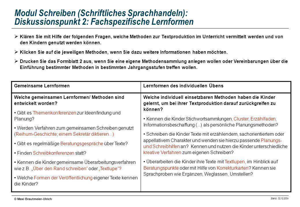 Stand: 02.12.2004 © Maxi Brautmeier-Ulrich Modul Schreiben (Schriftliches Sprachhandeln): Diskussionspunkt 2: Fachspezifische Lernformen Klären Sie mi