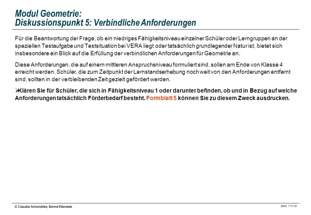 Stand: 17.01.05 © Claudia Schmidtke, Bernd Ellersiek Modul Geometrie: Diskussionspunkt 5: Verbindliche Anforderungen Für die Beantwortung der Frage, o