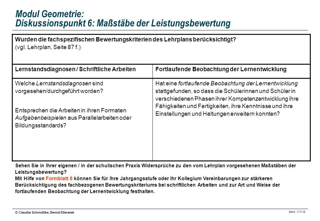 Stand: 17.01.05 © Claudia Schmidtke, Bernd Ellersiek Modul Geometrie: Diskussionspunkt 6: Maßstäbe der Leistungsbewertung Wurden die fachspezifischen