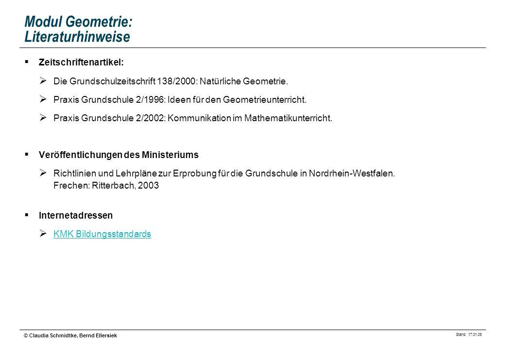 Stand: 17.01.05 © Claudia Schmidtke, Bernd Ellersiek Modul Geometrie: Literaturhinweise Zeitschriftenartikel: Die Grundschulzeitschrift 138/2000: Natü
