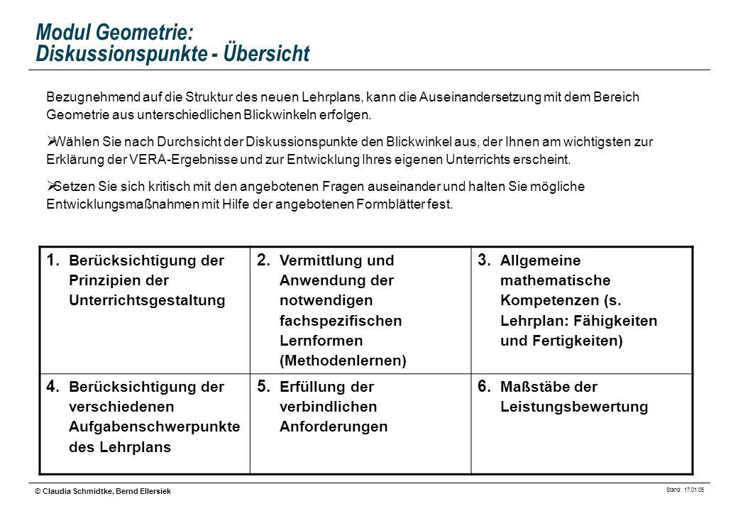 Stand: 17.01.05 © Claudia Schmidtke, Bernd Ellersiek Modul Geometrie: Diskussionspunkte - Übersicht Bezugnehmend auf die Struktur des neuen Lehrplans,