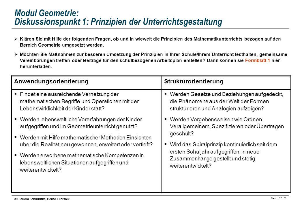 Stand: 17.01.05 © Claudia Schmidtke, Bernd Ellersiek Modul Geometrie: Diskussionspunkt 2: Fachspezifische Lernformen Klären Sie mit Hilfe der folgenden Fragen, welche Methoden im Unterricht vermittelt werden und von den Kindern genutzt werden können.