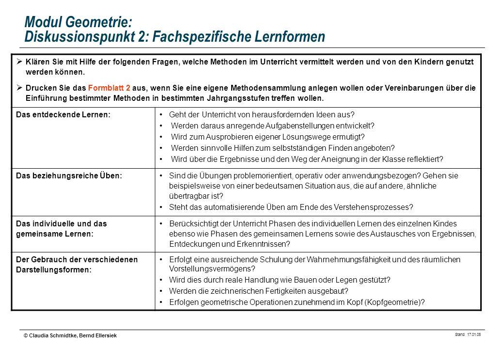 Stand: 17.01.05 © Claudia Schmidtke, Bernd Ellersiek Modul Geometrie: Diskussionspunkt 2: Fachspezifische Lernformen Klären Sie mit Hilfe der folgende