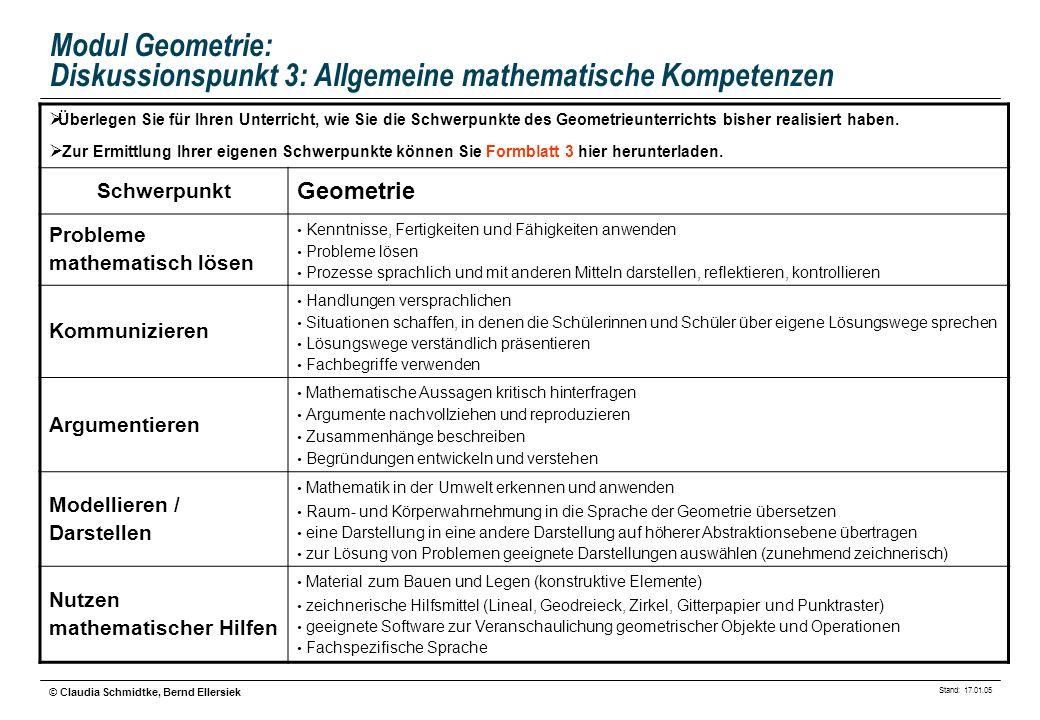 Stand: 17.01.05 © Claudia Schmidtke, Bernd Ellersiek Modul Geometrie: Diskussionspunkt 3: Allgemeine mathematische Kompetenzen Überlegen Sie für Ihren