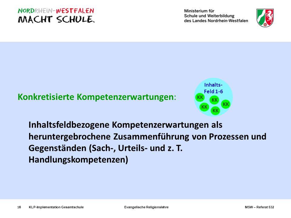 KLP-Implementation GesamtschuleEvangelische ReligionslehreMSW – Referat 53216 Konkretisierte Kompetenzerwartungen: Inhaltsfeldbezogene Kompetenzerwart