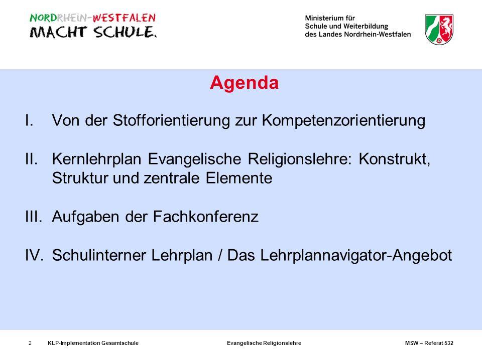 KLP-Implementation GesamtschuleEvangelische ReligionslehreMSW – Referat 5323 I.