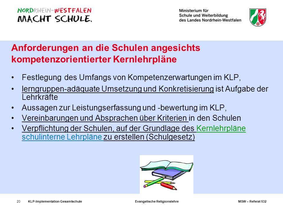 KLP-Implementation Gesamtschule Evangelische Religionslehre MSW – Referat 53220 Anforderungen an die Schulen angesichts kompetenzorientierter Kernlehr