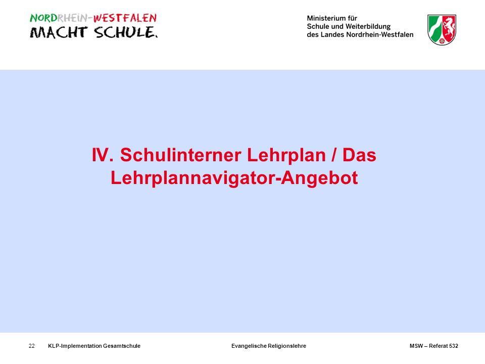 KLP-Implementation Gesamtschule Evangelische Religionslehre MSW – Referat 53222 IV. Schulinterner Lehrplan / Das Lehrplannavigator-Angebot