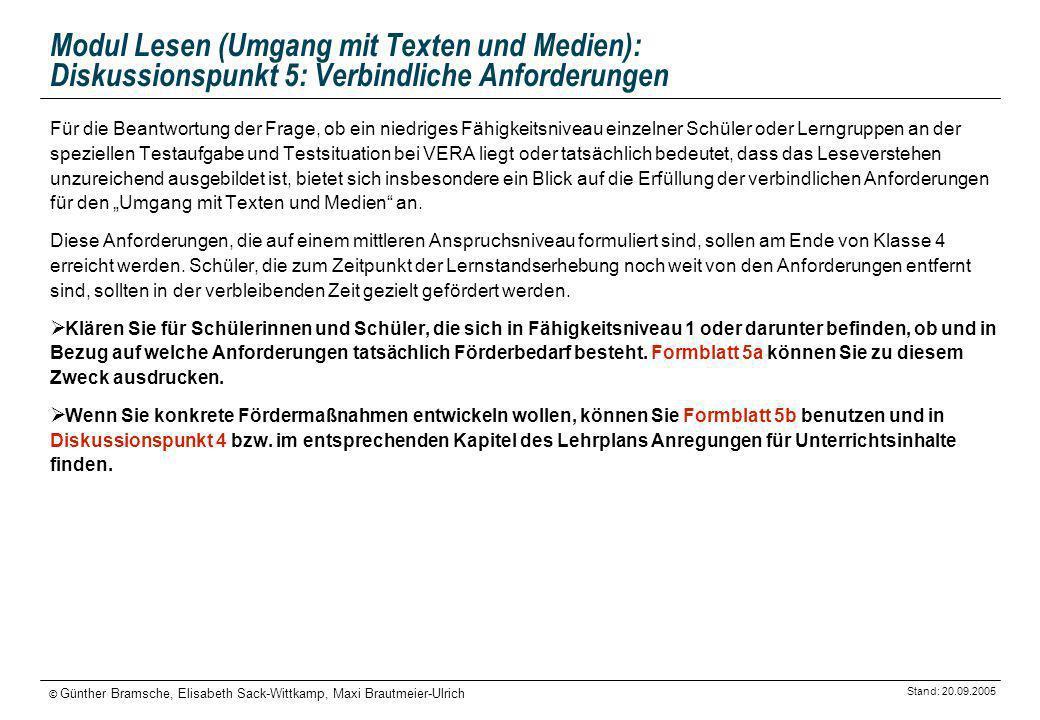 Stand: 20.09.2005 © Günther Bramsche, Elisabeth Sack-Wittkamp, Maxi Brautmeier-Ulrich Modul Lesen (Umgang mit Texten und Medien): Diskussionspunkt 5: