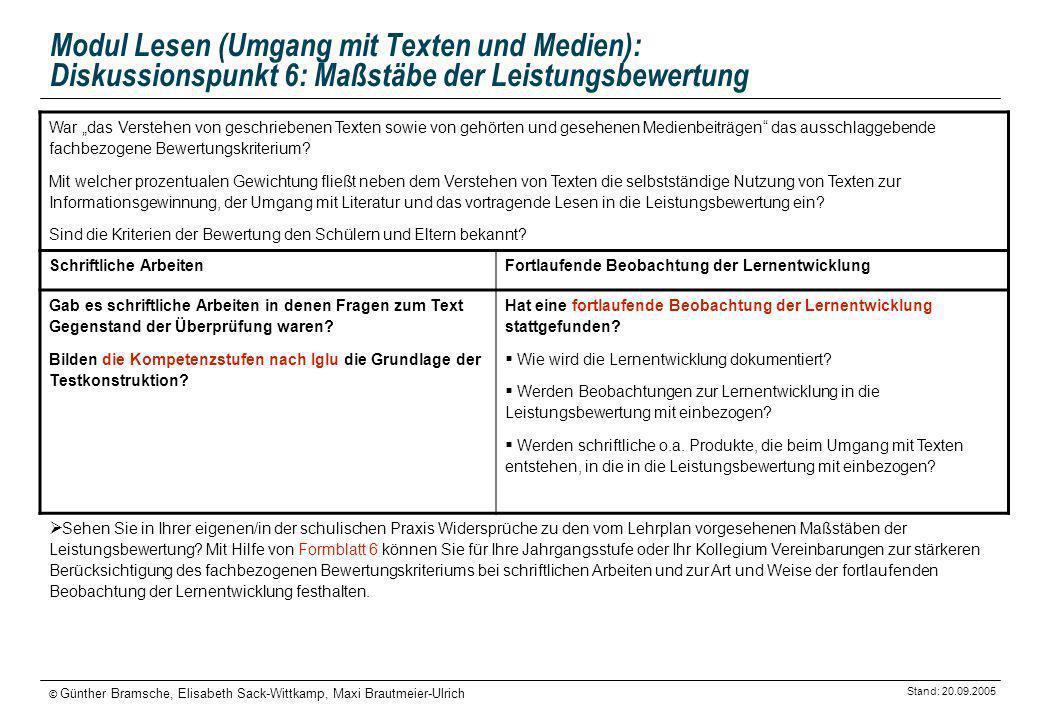 Stand: 20.09.2005 © Günther Bramsche, Elisabeth Sack-Wittkamp, Maxi Brautmeier-Ulrich Modul Lesen (Umgang mit Texten und Medien): Diskussionspunkt 6: