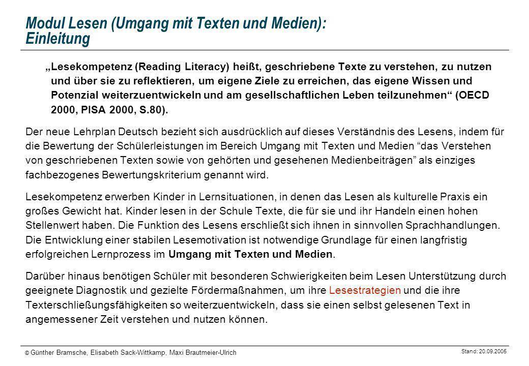 Stand: 20.09.2005 © Günther Bramsche, Elisabeth Sack-Wittkamp, Maxi Brautmeier-Ulrich Modul Lesen (Umgang mit Texten und Medien): Einleitung Lesekompe