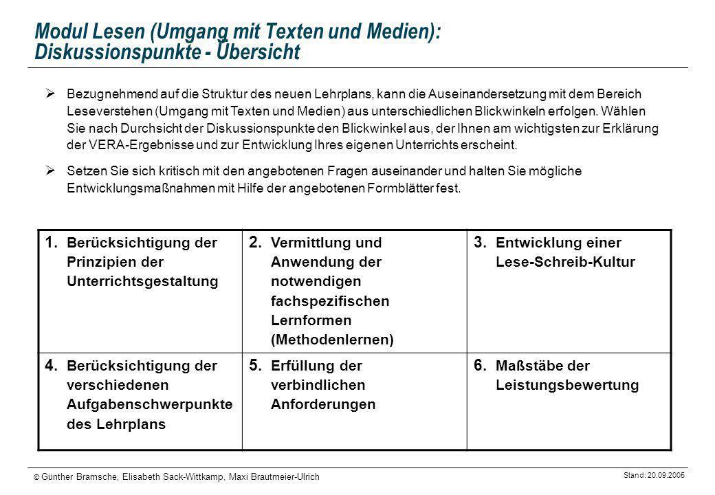 Stand: 20.09.2005 © Günther Bramsche, Elisabeth Sack-Wittkamp, Maxi Brautmeier-Ulrich Modul Lesen (Umgang mit Texten und Medien): Diskussionspunkte -