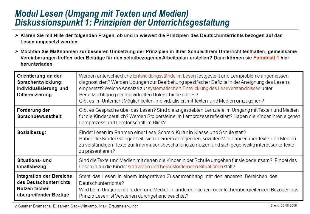 Stand: 20.09.2005 © Günther Bramsche, Elisabeth Sack-Wittkamp, Maxi Brautmeier-Ulrich Modul Lesen (Umgang mit Texten und Medien) Diskussionspunkt 1: P