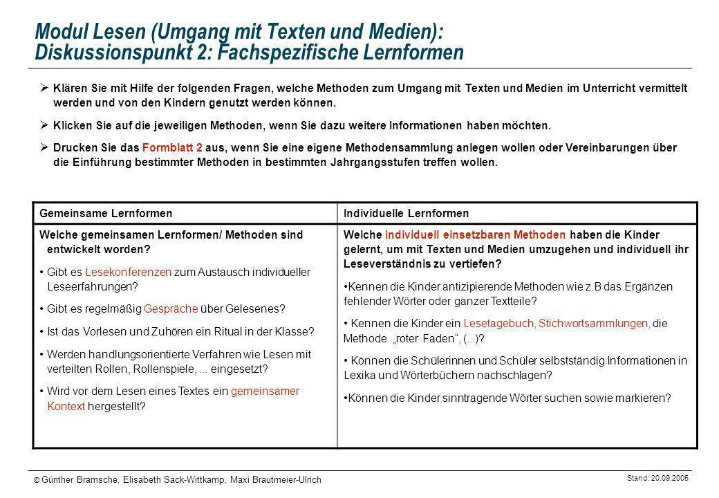 Stand: 20.09.2005 © Günther Bramsche, Elisabeth Sack-Wittkamp, Maxi Brautmeier-Ulrich Modul Lesen (Umgang mit Texten und Medien): Diskussionspunkt 2: